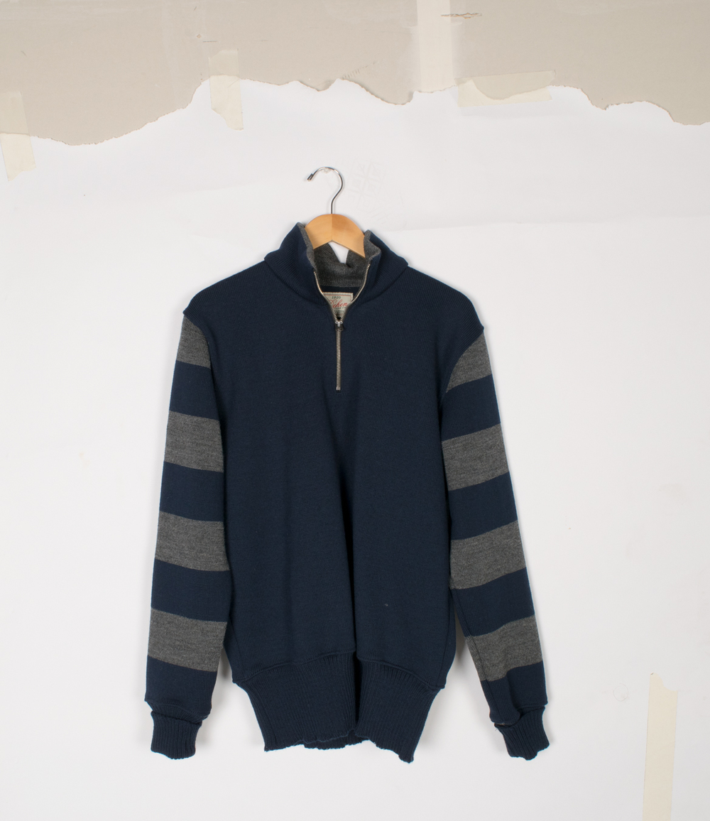 Motorcycle Sweater - Dark Navy/Charcoal - $145/$295