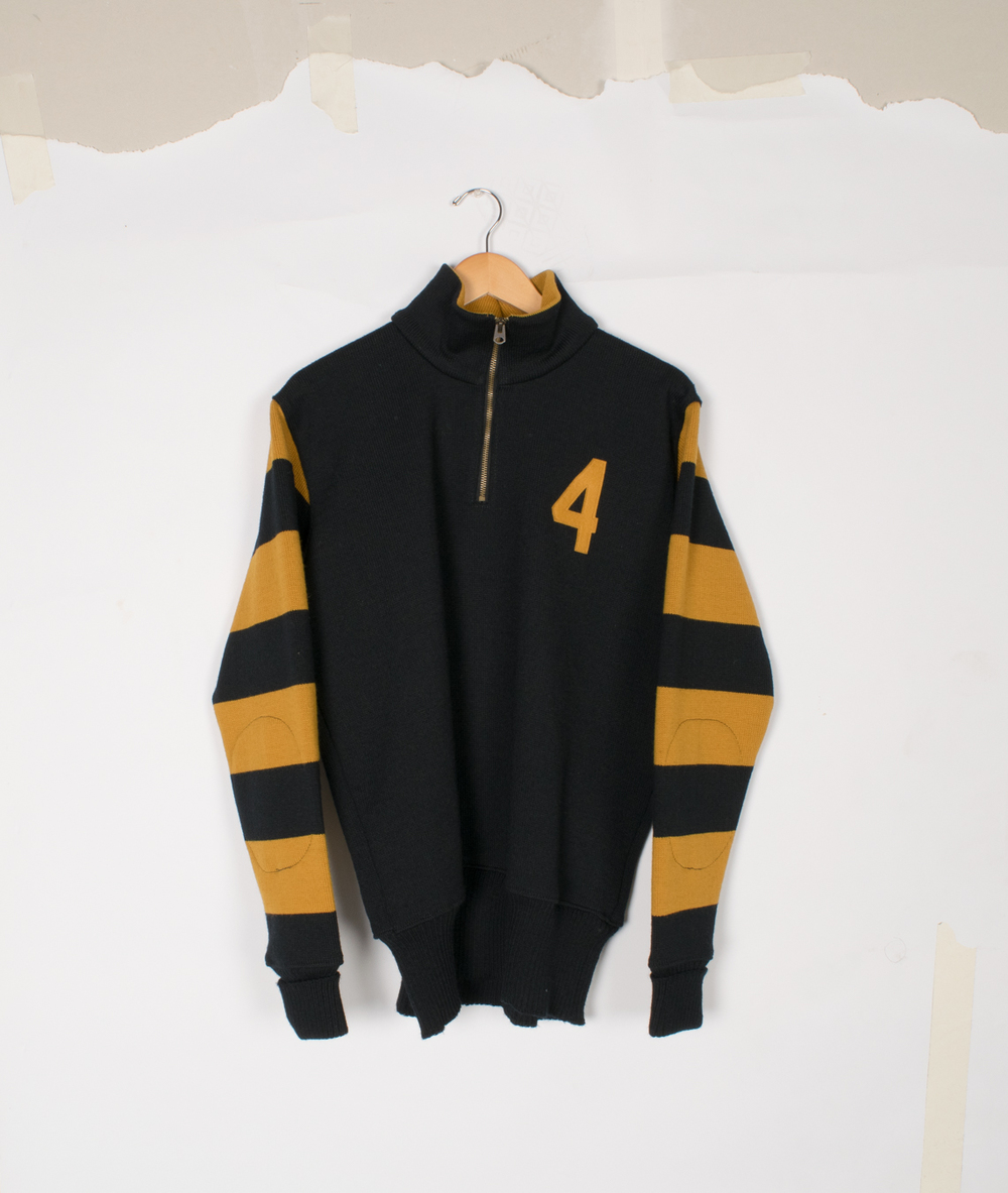 Motorcycle Sweater - Black/Old Gold - $145/$295