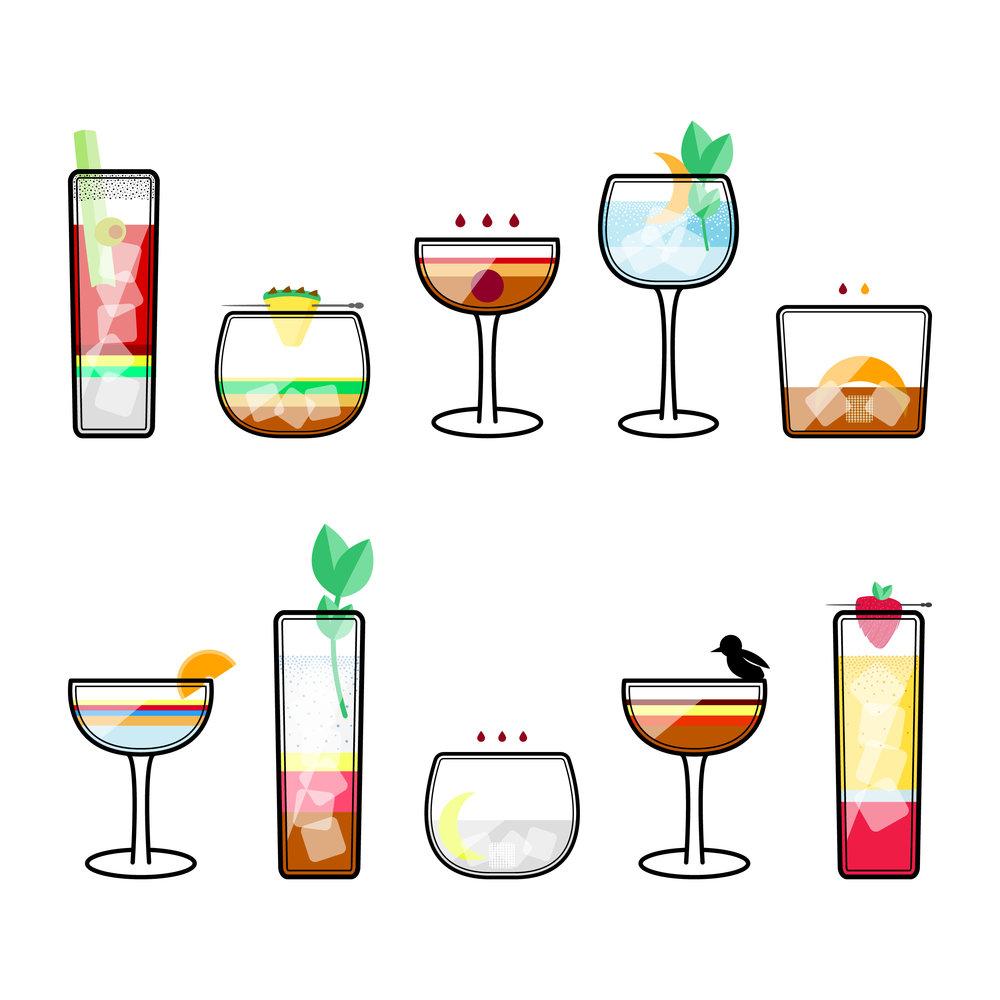 Custom Cocktail Illustrations