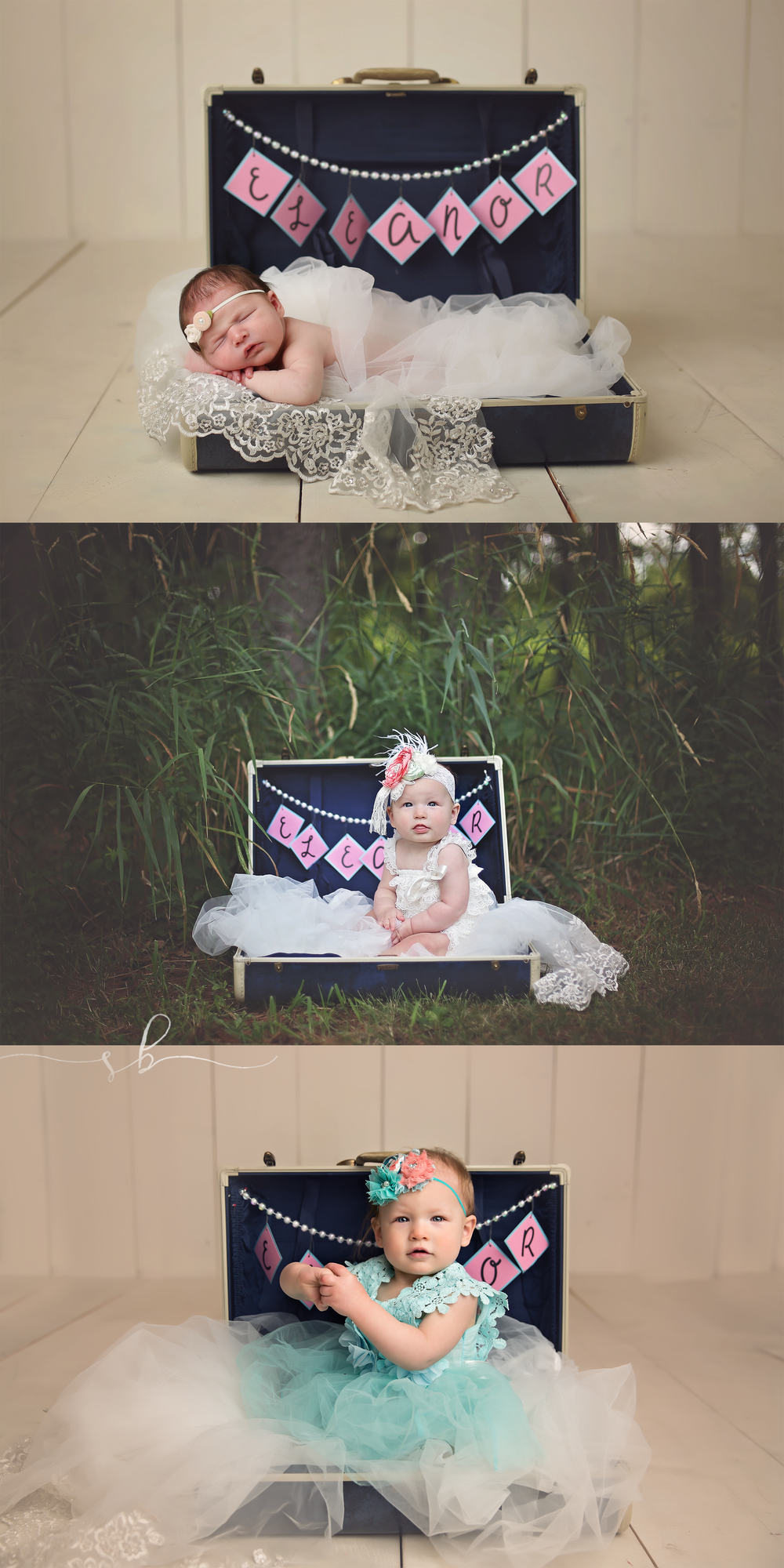 This suitcase was used as the card box at mom and dads wedding and the tulle is actually her moms veil <3