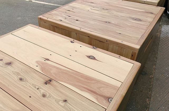 Box seating made for @kountapos in our Manly Vale workshop, crafted from reclaimed 1960's Cypress flooring.