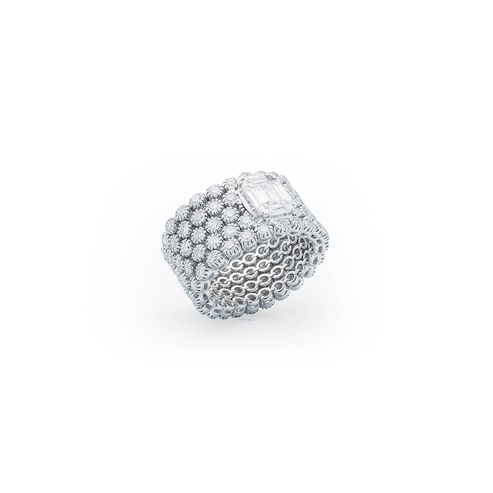 Damian By Mischelle ring, 18K white gold, set with white diamonds