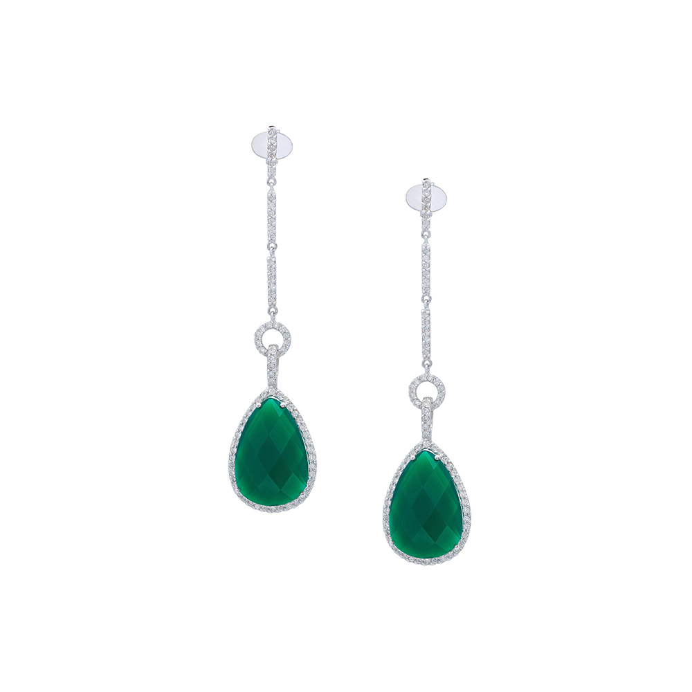 Damian By Mischelle earrings, 18K white gold, set with green garnets and white diamonds