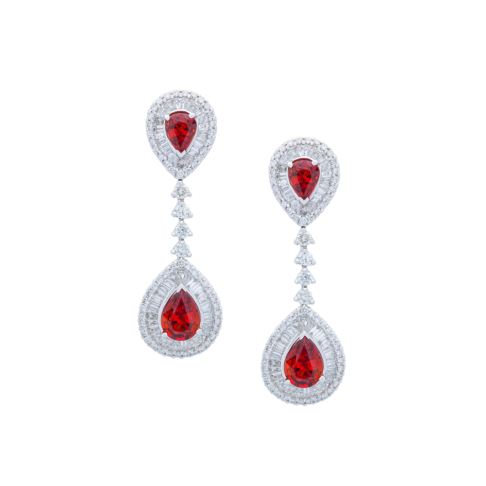 Damian By Mischelle earrings, 18K white gold, set with rubies and white diamonds