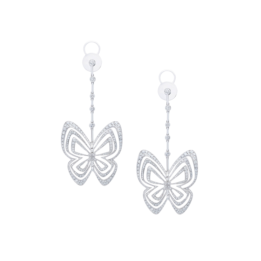 Damian By Mischelle earrings, 18K white gold, set with white diamonds