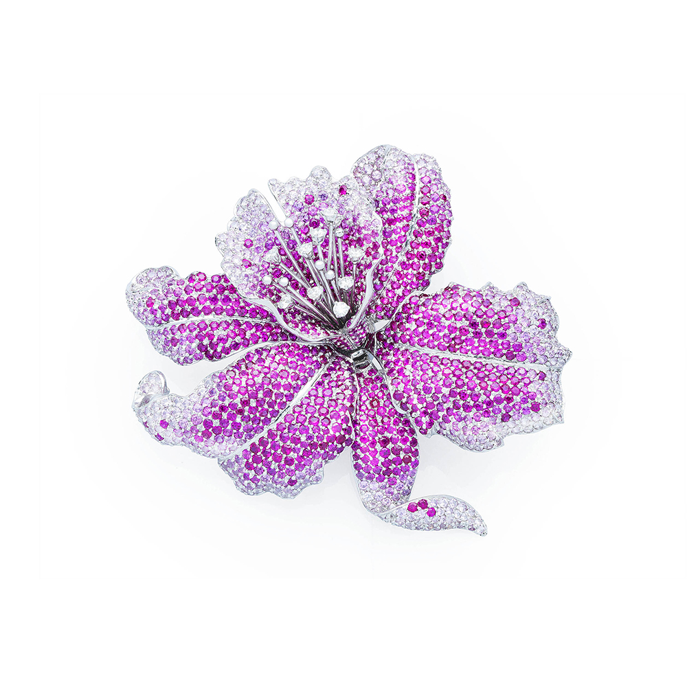 Damian By Mischelle orchid broach, 18K white gold, set with rubies and white diamonds