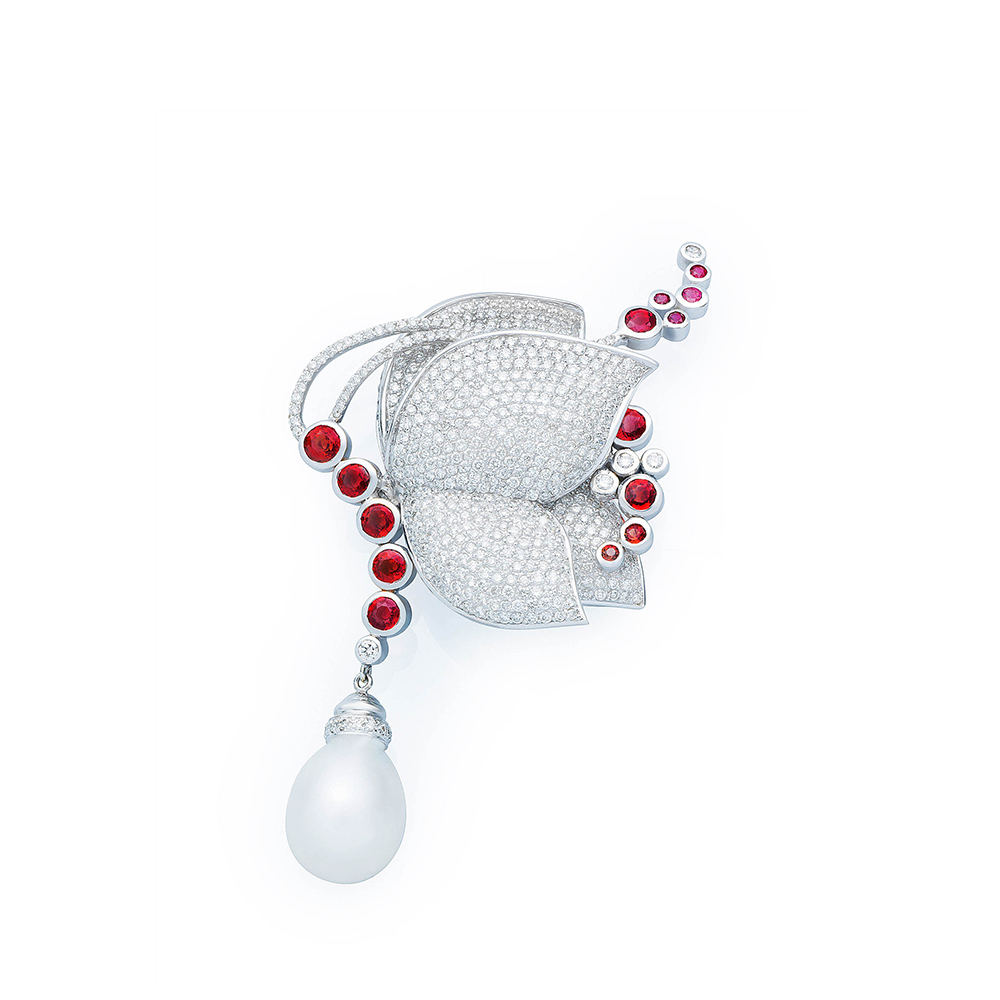 Damian By Mischelle butterfly broach, 18K white gold, set with rubies, South Sea white pearl and white diamonds