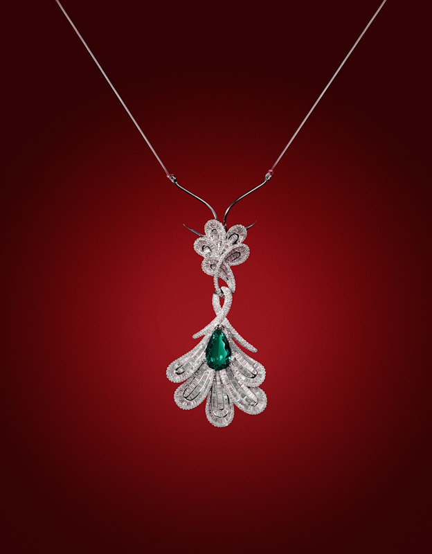 Damian By Mischelle pendant, 18K white gold, set with emerald and white diamonds