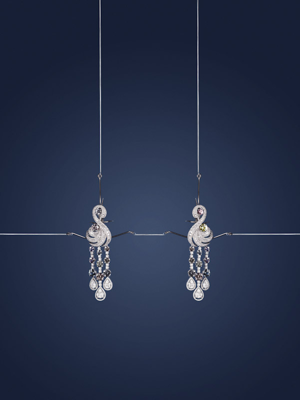 Damian By Mischelle earrings, 18K white gold, set with coloured sapphires and white diamonds