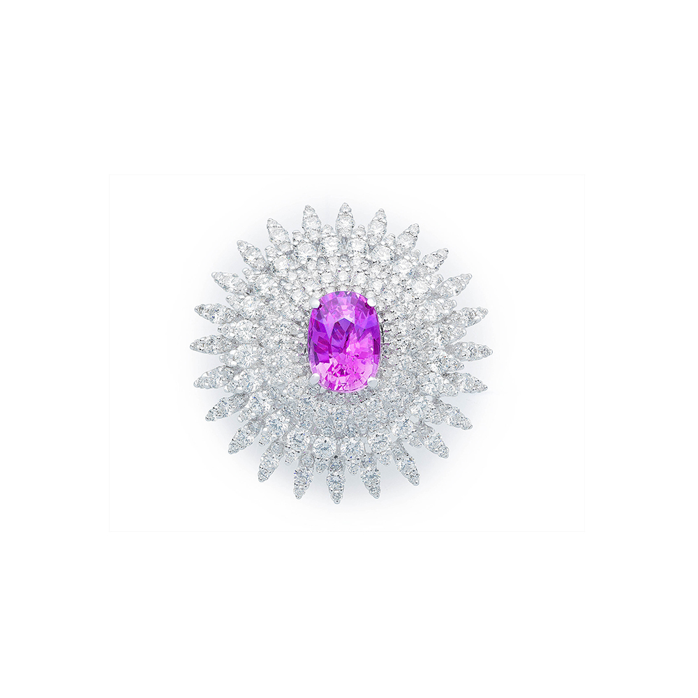 Damian By Mischelle ring, 18K white gold, set with pink sapphire and white diamonds