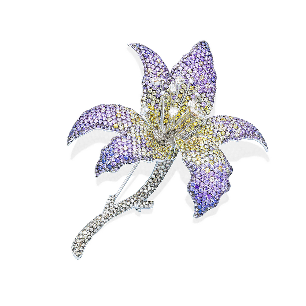 Damian By Mischelle broach, 18K white gold, set with yellow sapphires, purple sapphires, white diamonds and brown diamonds