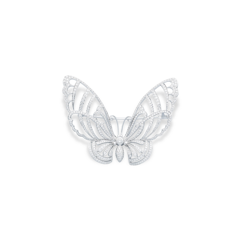 Damian By Mischelle butterfly broach, 18K white gold, set with white diamonds