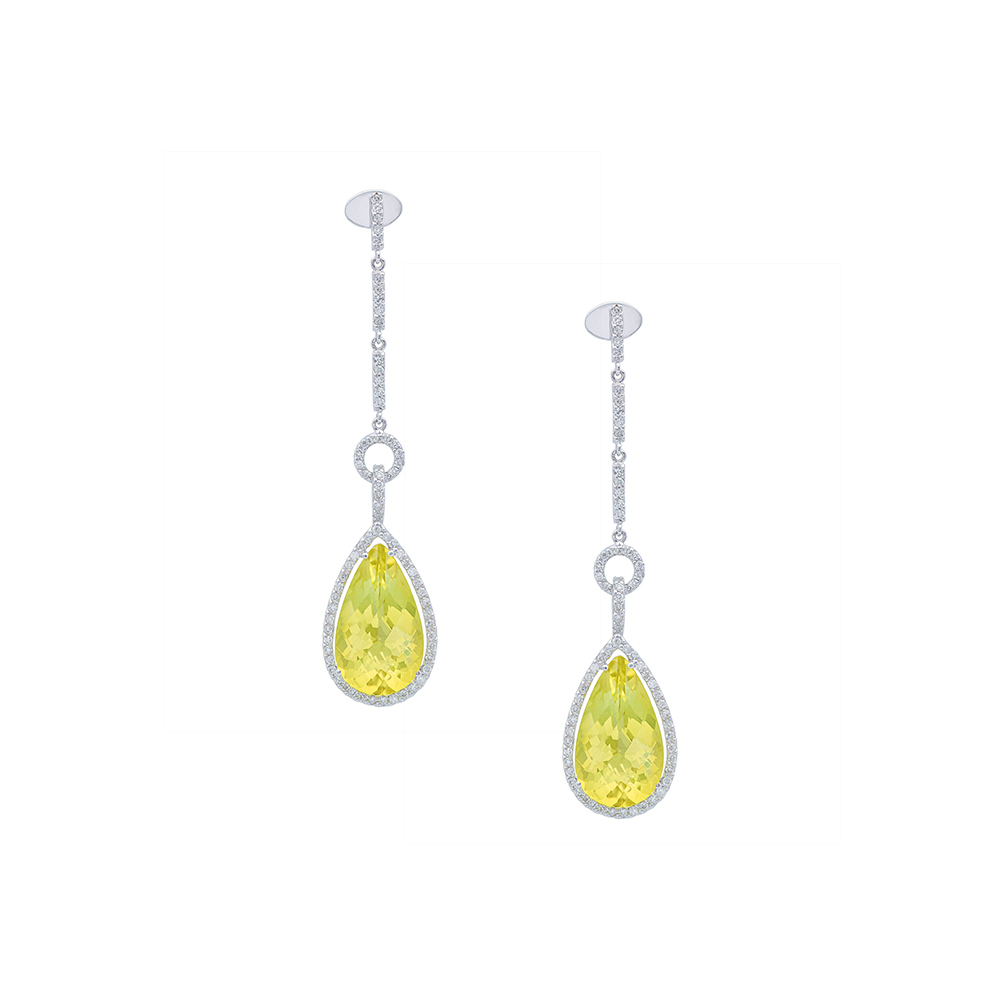 Damian By Mischelle earrings, 18K white gold, set with lemon topaz and white diamonds