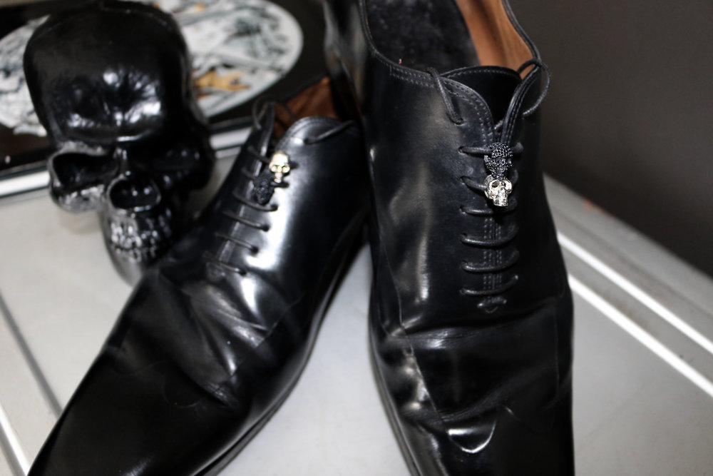 Damian By Mischelle shoe skulls designs, set with black rhodium black and white gold plated stainless steel