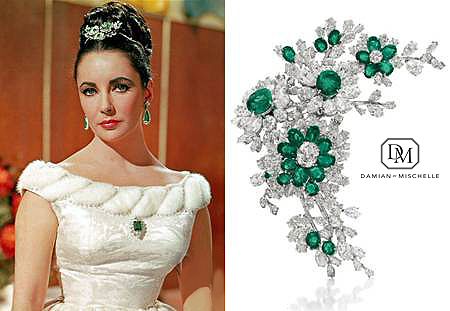 Elizabeth Taylor: Spectacular broach baguette cut diamond stems