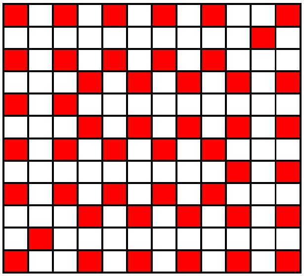 The Heyawake number for a 12 by 12 grid is 48