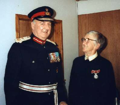 This picture shows Jamie being invested with the British Empire medal in 1991.