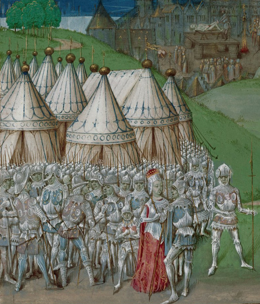 14th-century manuscript illustration depicting Roger Mortimer and Queen Isabella in the foreground (credit: British Library/Wikimedia Foundation)