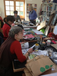 Mesdames Myrtles rug hooking group of Penzance discuss representing Cornish women's history (credit: Diane Cox)