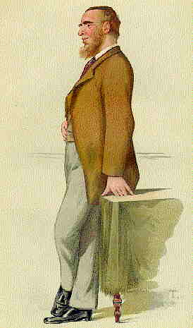 """Proper self-sufficiency"" Caricature of Courtney by ""T"" (Théobald Chartran) in Vanity Fair, 25 September 1880."