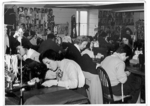 Women working at their sewing machines at Flawns, Porthmeor Road, St Ives, 1958 (credit: St Ives Archive)