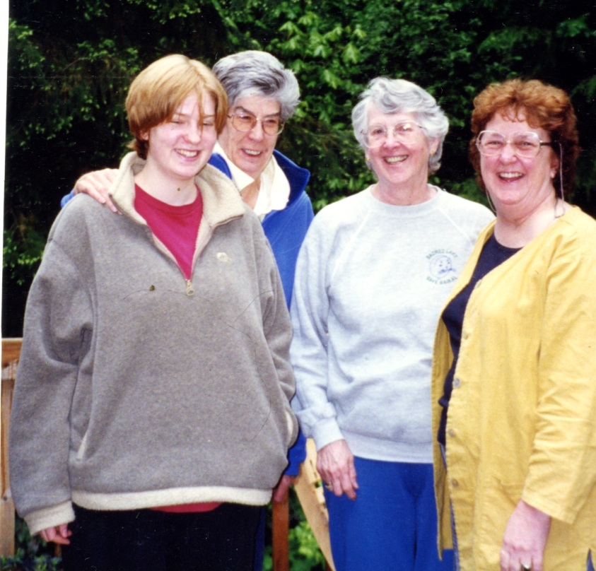 From Left to right:  Nicola Janas, Veronica Janas, Elspeth Pope, Melissa Hardie on a group visit to Hypatia-in-the-Woods, 1998, a residential retreat for women artists on Puget Sound, Washington, planning forward for our transatlantic partnership.