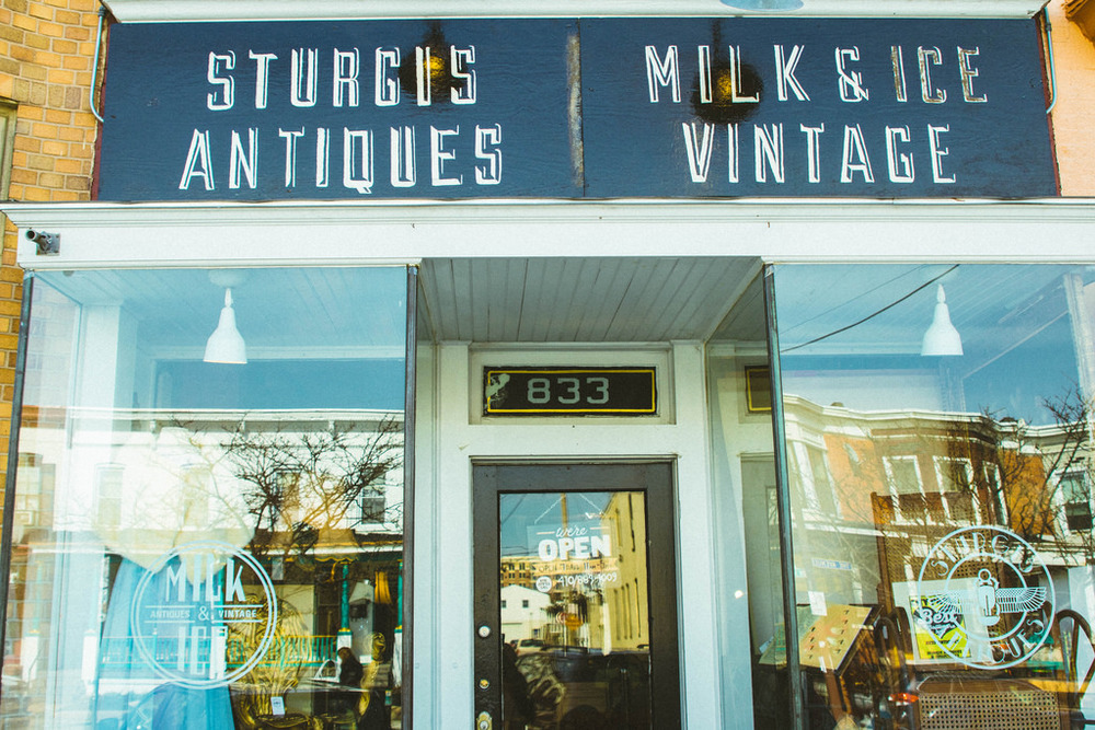 The storefront of Milk & Ice on The Avenue in the Hampden neighborhood of Baltimore, MD.