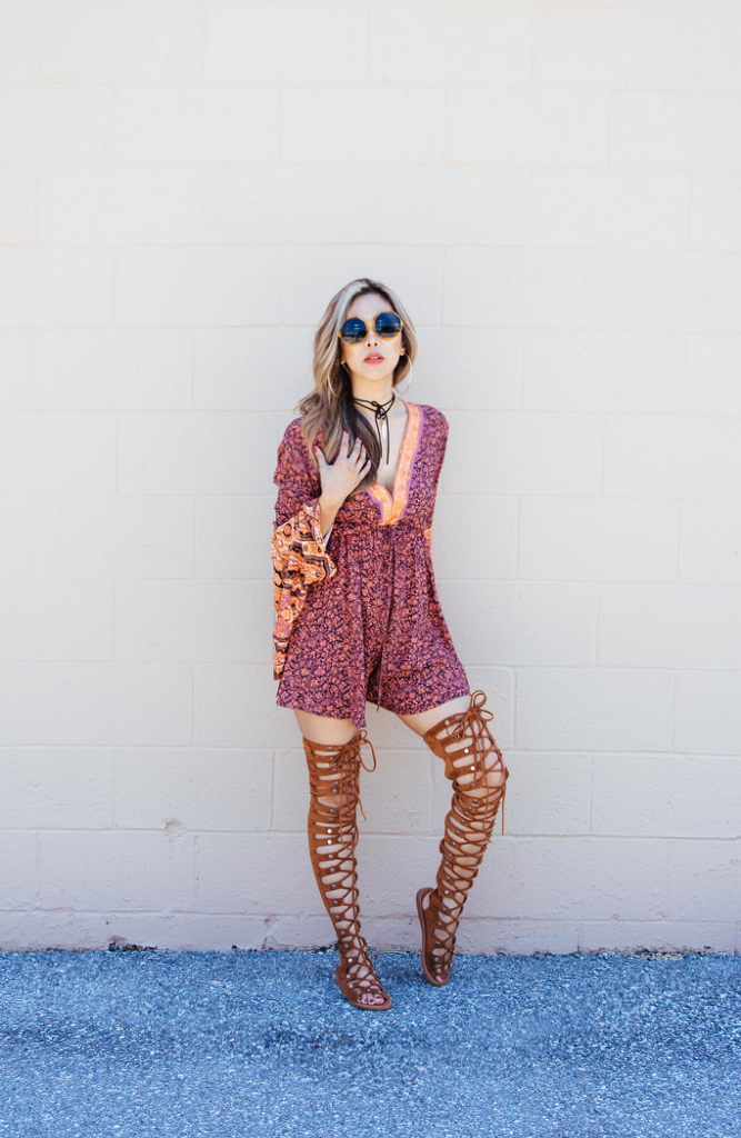 Romper, Free People. Choker, Brightside Boutique. Thigh-high gladiator sandals, Jeffrey Campbell. Sunnies, Free People.