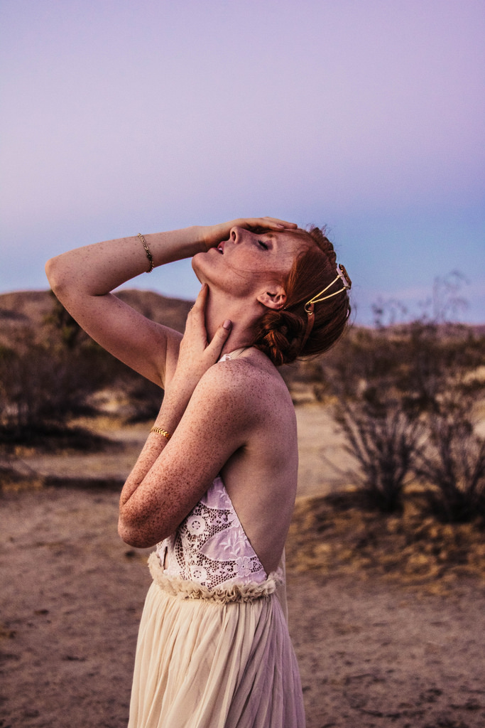 Model: Maura Lee McNamara. Agency: Q Management (LA). Hair and makeup: Rachel Burley. Dress: Free People. Shot on location in Joshua Tree, California.