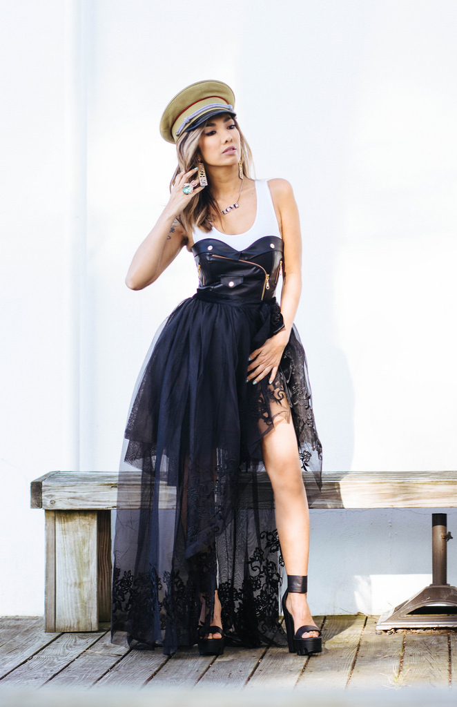 Lieutenant Hat by Free People. Moshino logo earrings from Poshmark. Tulle skirt and vegan leather bustier by Nasty Gal. White wifebeater by Christian Siriano. Items available in  my online shop.