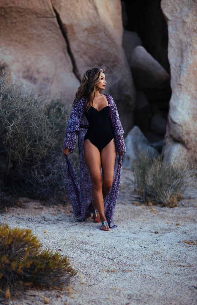 Purple chiffon floral kimono: ASOS. Black bodysuit: Cosabella. Black and white beaded festival flip flops: American Eagle Outfitters. All photos taken on location in Joshua Tree, California by Andria Gutierrez of Idealwild.