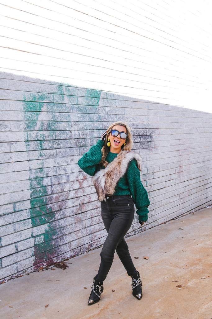 "Green Cropped Sweater : Urban Renewal by Urban Outfitters.  High-waisted black jeans : Levi's. Faux Fur Stole: taken from the collar of an old coat I no longer wear but you can also use a faux fur stole like the ones I posted in  Shop My Closet . Metallic Silver Leather Gloves: ASOS. Hawthorne Boots: Jeffrey Campbell. ""On The Prowl"" Sunnies: Quay Australia. (This post was sponsored by Quay Australia.) Photos by Kate Christofano."