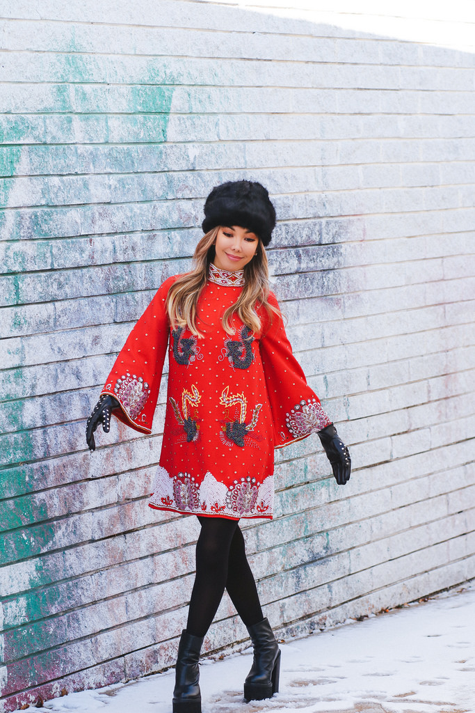 Red In The Mood shift dress by Asos Edition. Black vintage Cossack hat, thrifted. Black tights by Hue. Black studded leather gloves by Stradivarius. Black platform boots by Jeffrey Campbell. Outfit available in Shop My Closet.