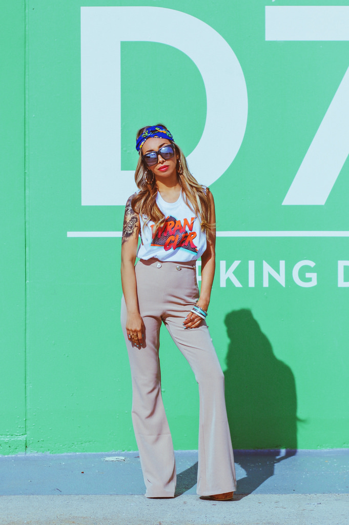 Vintage Muscle Tee by Wrangler. Wide Leg Flare Pants in Khaki by Vesper. ASOS Turban Headband in Blue. Sunglasses by Quay Australia. Bangles and Earrings from Forever 21. All outfit details in  Shop My Closet .