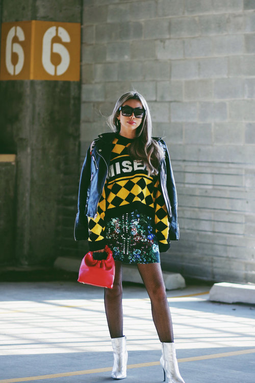b035afb33 Yellow checked sweater by The Ragged Priest. Floral embellished scuba  miniskirt by ASOS. Black