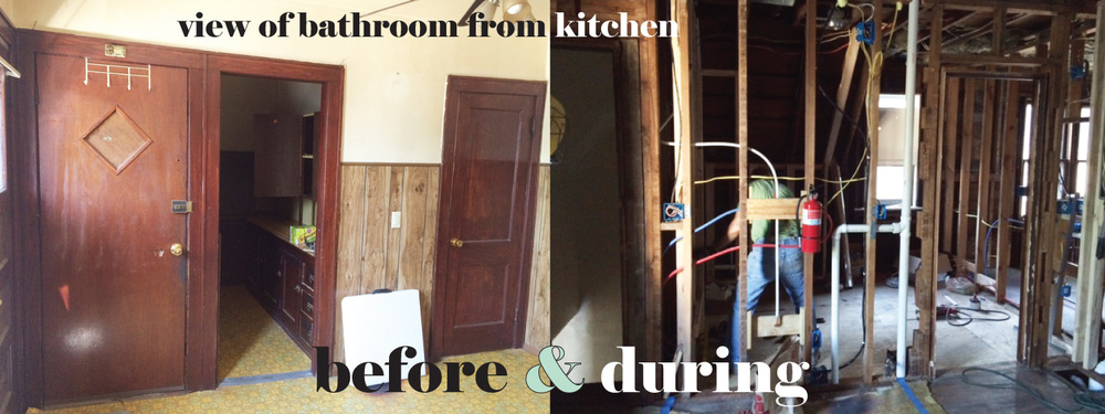 bathroom before and during
