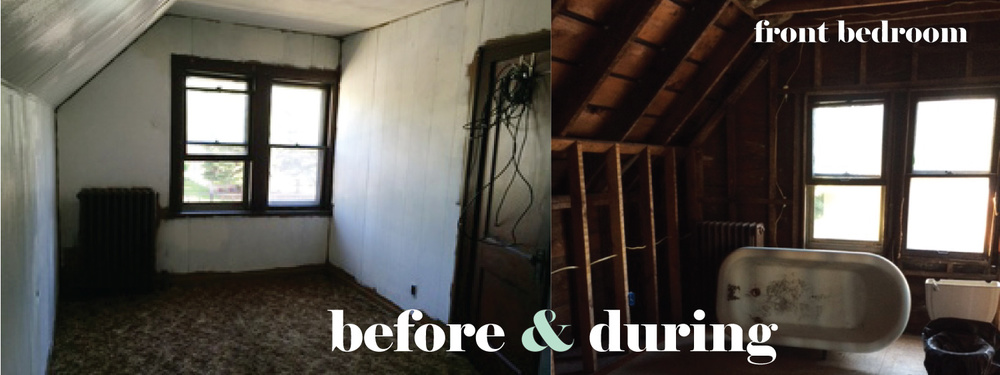 before and during: front bedroom
