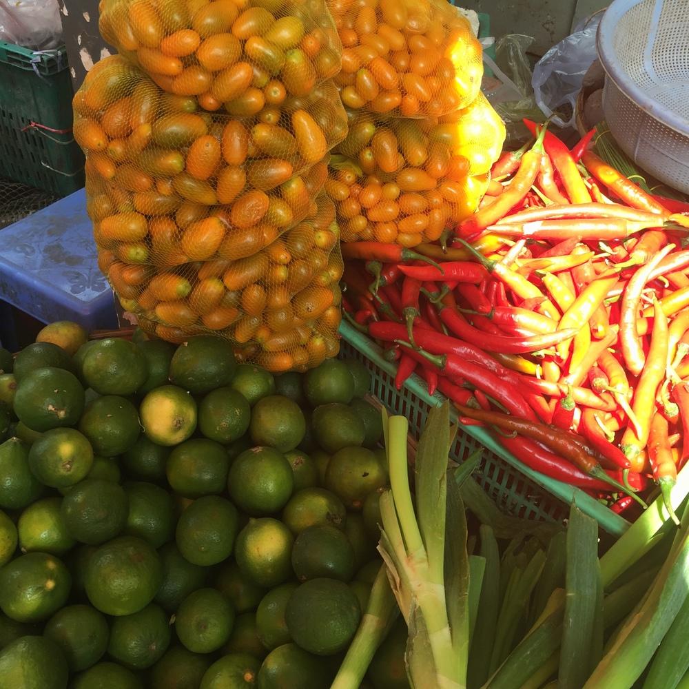 Bright fruits and veggies.