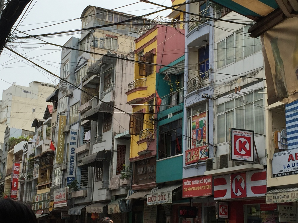 The tall narrow buildings typical of Ho Chi Minh
