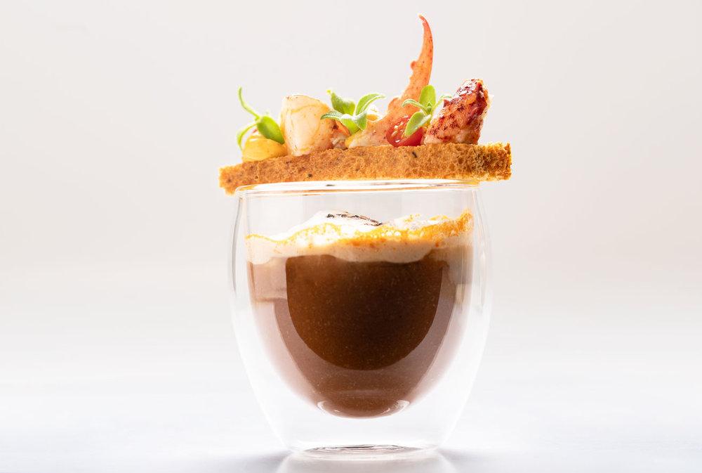 Cappuccino van kreeft, bruschetta met aioli - Schaaldieren, Koffie