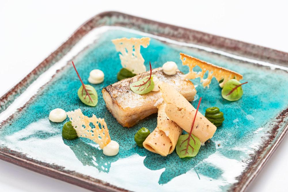 Gebakken paling, eendenlever, crème van tuinkruiden - Vis, Eend