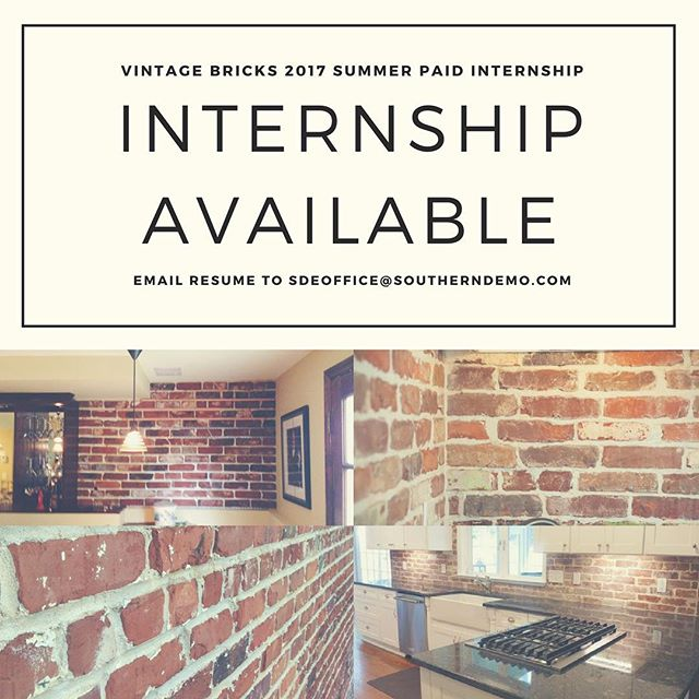In the Atlanta area and looking for a part-time paid internship?  Learn more at vintagebricks.com/summer-internship-2017 🏚🔨