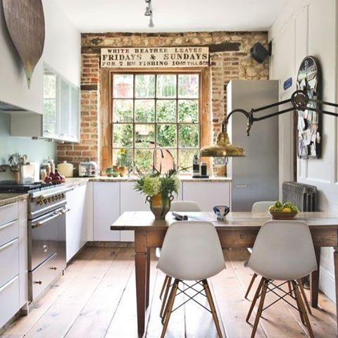 Bricked out accent wall inspiration. An easy diy - what do you think? 🔹www.VintageBricks.com🔹 Reclaimed salvage thin brick tiles