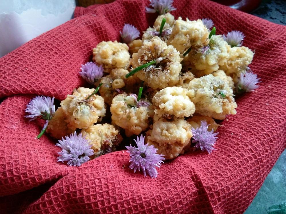 Tempura Chive Blossoms!