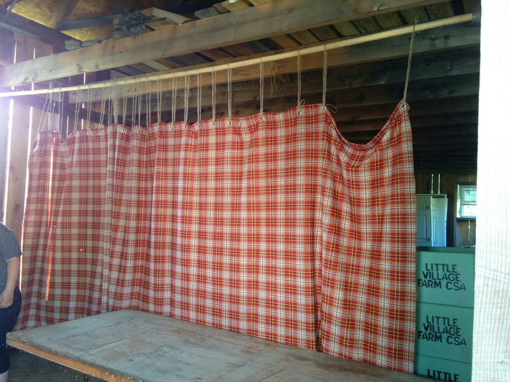Farmstand curtain going up!