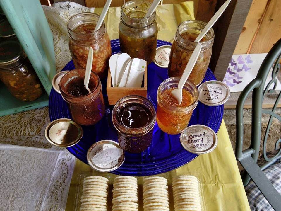 House made relishes, jams, and more for sale at the Farm Stand