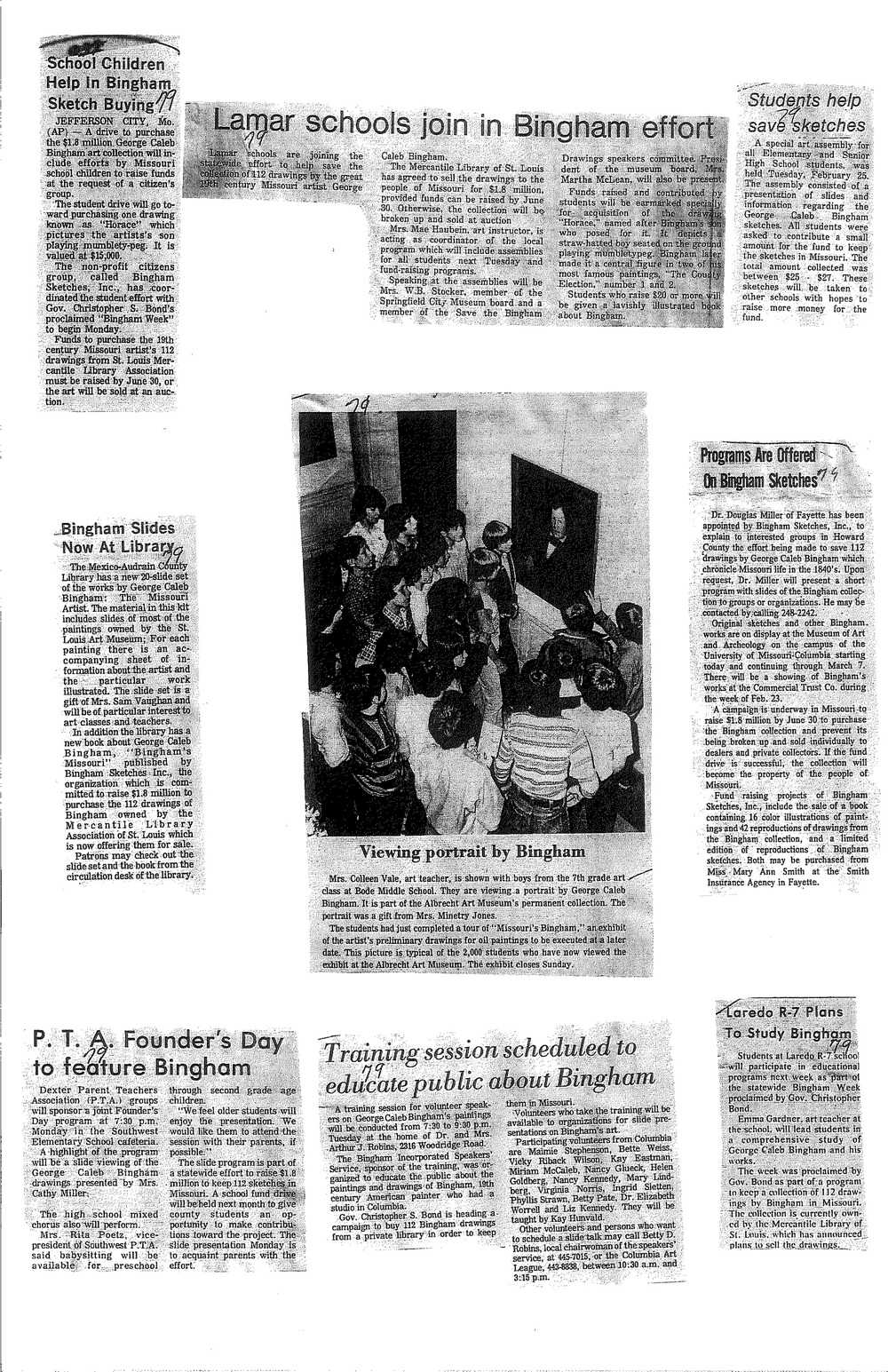 Newspaper clippings about various schools' efforts to raise money to keep Bingham's work in Missouri.  Image courtesy of Bingham Trust .
