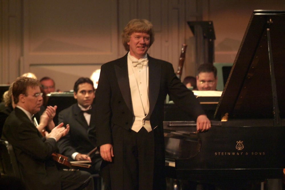 Dr. Laverty performing Rachmaninoff Piano Concerto No. 2 with the Clayton Symphony Orchestra, March 2005.