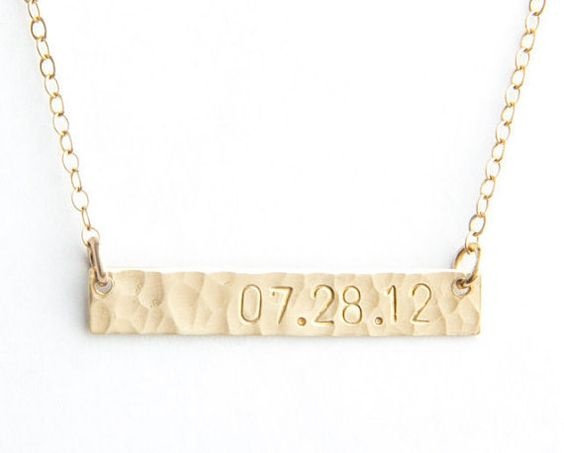 Pixley Pressed Classic Date Bar Necklace