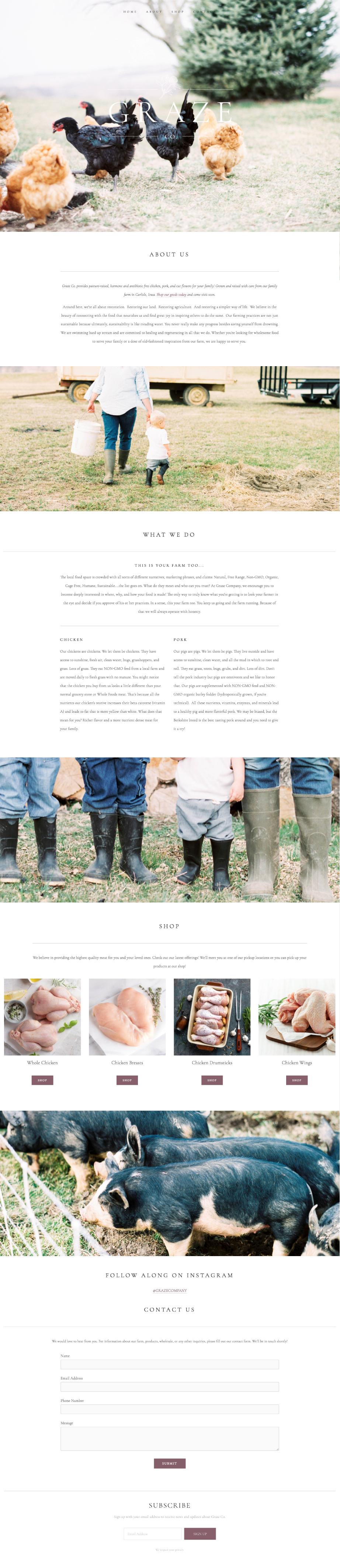 Graze Company organic family farm branding, logo, and website design